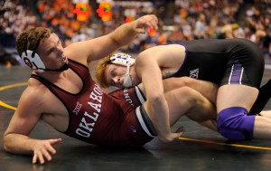 Northwestern's Mike McMullan majored Oklahoma's Ross Larson, 11-2, at heavyweight. The three-time AA will be one of three quarterfinalists for the Wildcats. (Ginger Robinson photo)