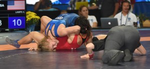 Alyssa Lampe, like all three U.S. women who competed on Wednesday scored falls in their first bouts of the 2015 Worlds. (Ginger Robinson photo)