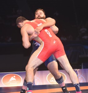 Robby Smith stood at least five inches shorter than Russia's Bilyal Makhov during the bronze medal bout. (Ginger Robinson photo)