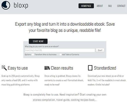 Bloxp transforme votre blog en ebook