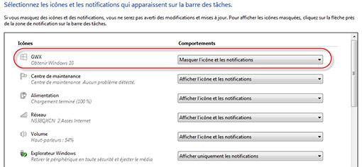 Masquer l'icône Obtenir Windows 10