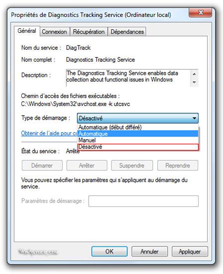 Désactiver le Diagnostics Tracking Service