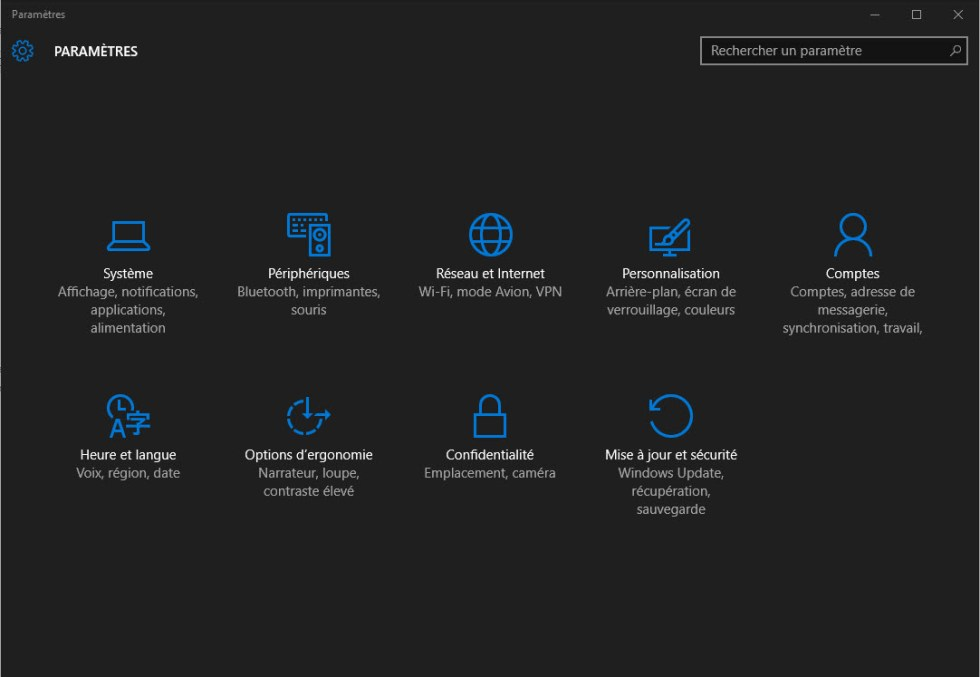 Applications Windows 10 en noir