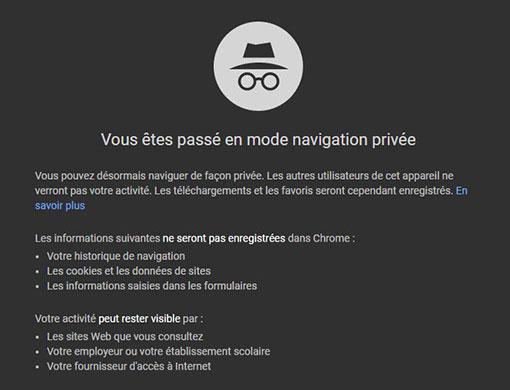 Chrome mode privé