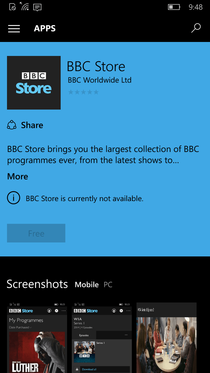 bbc launching universal windows 10 app supporting new bbc store on msft. Black Bedroom Furniture Sets. Home Design Ideas