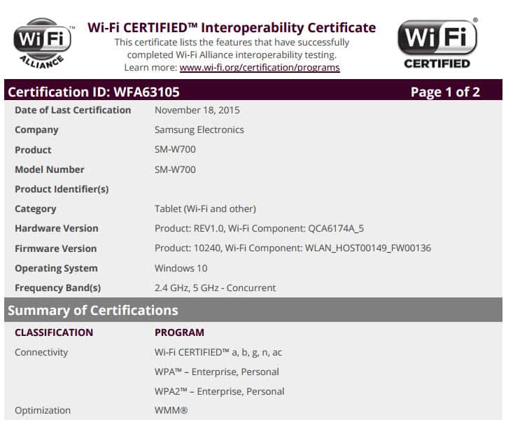 Wi Fi Certification Completed For Samsungs Upcoming 12 Inch Windows