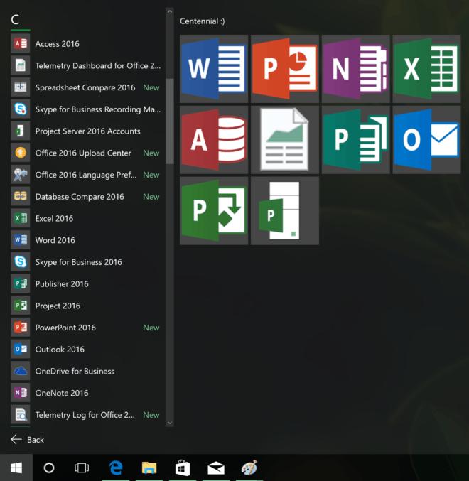 centennialo16 Microsoft testing Project Centennial version of Office 2016