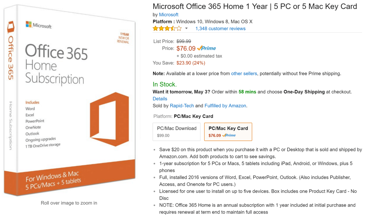 Office 365 on sale for $76.09 for a year at Amazon | On MSFT
