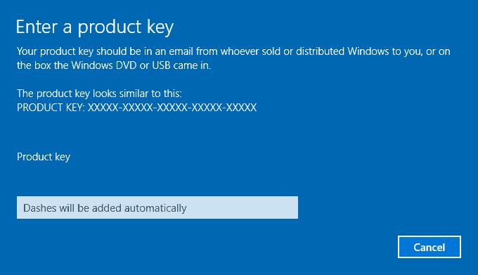 Product Key dialog