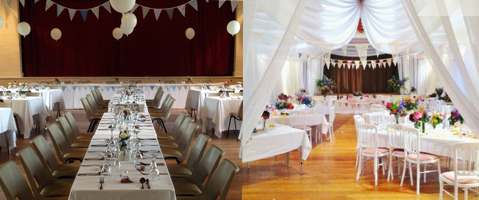 two examples of Wedding reception decor in the Winchelsea New Hall
