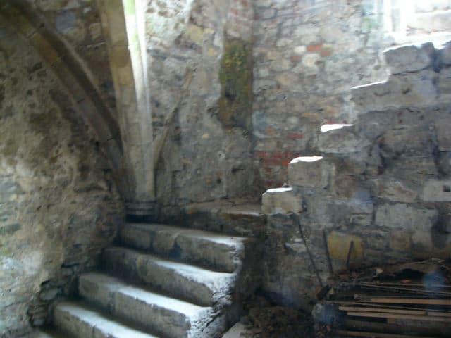 Stone steps leading into Salutation Cottages cellar