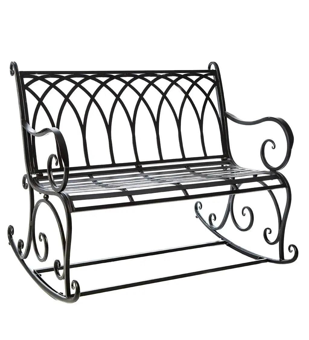 Black Metal Rocker Garden Bench Black Wind And Weather