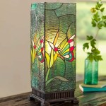 Stained Glass Butterfly Box Table Lamp With Glass Jewels Wind And Weather
