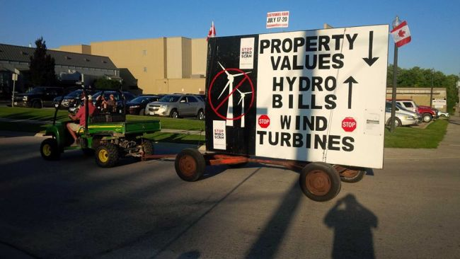 Float at an Ontario fall fair: talk to the people actually living with wind turbines