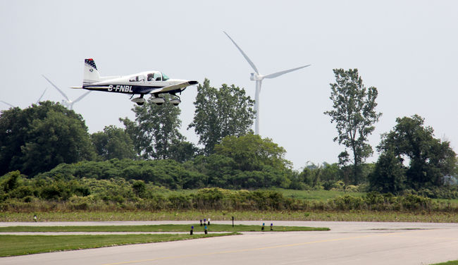 Small plane landing at Chatham-Kent airport; several turbines were disallowed due to threat to safety