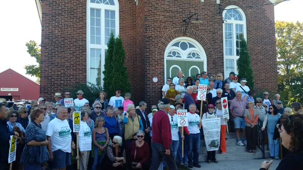 More than 30 people gathered at historic Mount Tabor in Prince Edward County to protest wind power projects