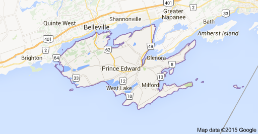 Map of Prince Edward County and South Shore where two wind power projects are approved.