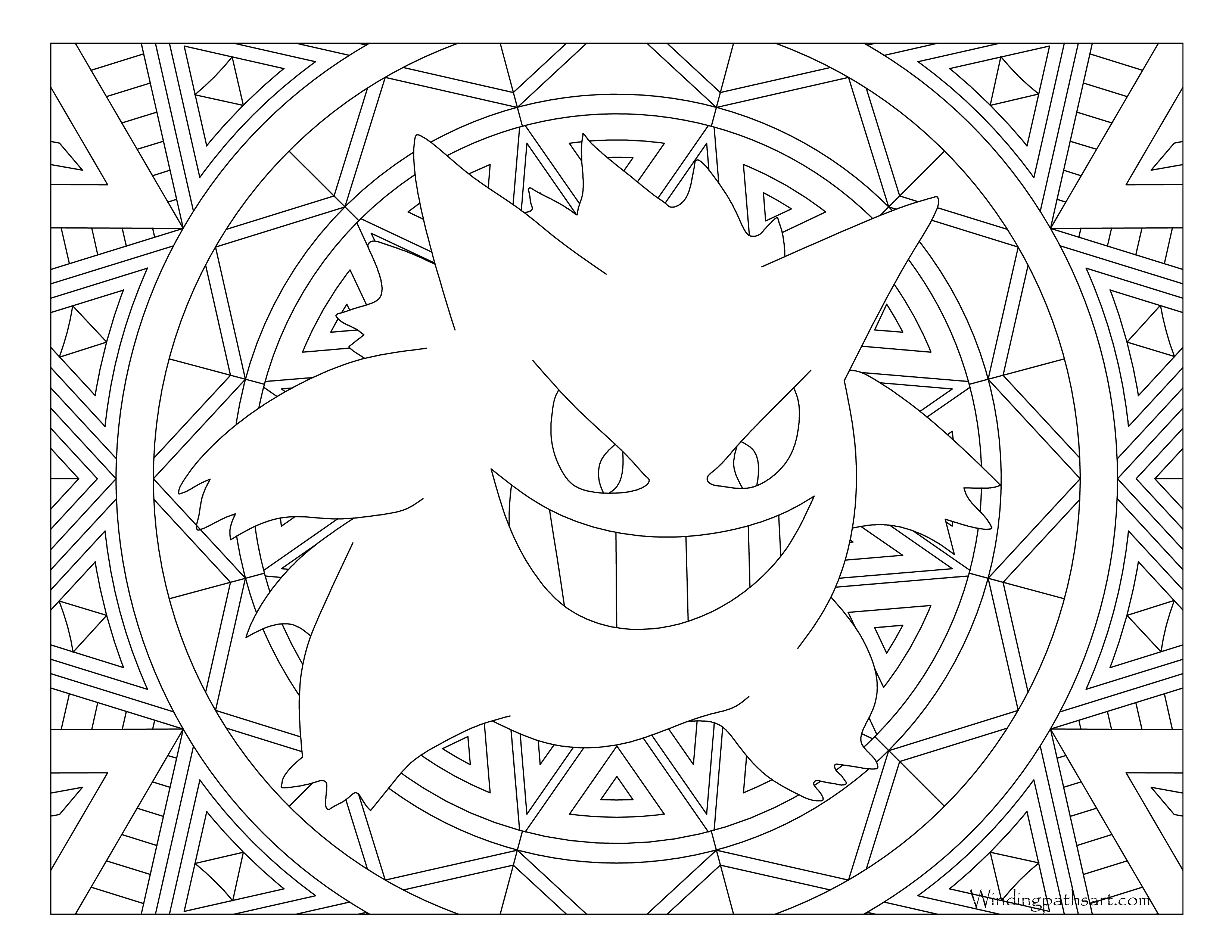 094 Gengar Pokemon Coloring Page Windingpathsart Com
