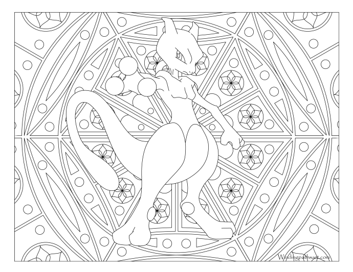 150 mewtwo pokemon coloring page