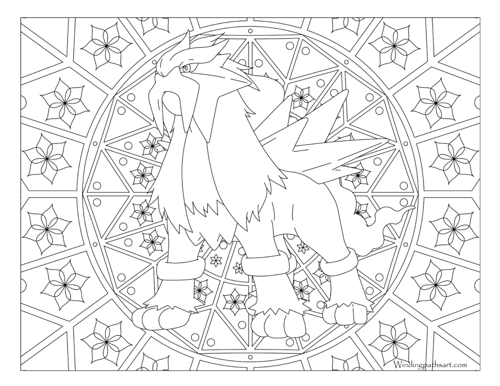 Adult Pokemon Coloring Page Entei