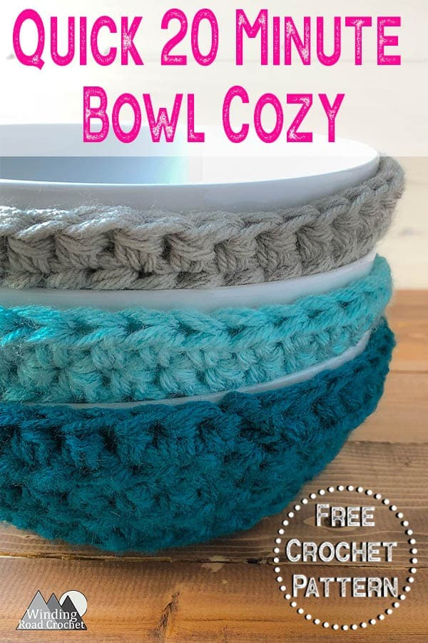 Work up this crochet bowl cozy using this free pattern in just 20 minutes. The crochet project is quick and easy and a great stash buster. #bowlcozy #crochetcozy