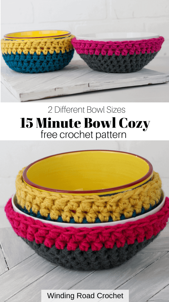 Make a quick and easy crochet bowl cozy with this free crochet pattern by Winding Road Crochet. #crochetcozy #cozy #bowlcozy