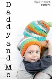 The Daddy and Me slouch Beanie is an easy free crochet pattern. If you know the basic stitches and how to decrease you are good to go. There is a pattern for adult and child sizes. The hat has a unique texture. We used Caron Cupcakes with matching pom pom to create a beautiful set of hats that is great for anyone in your family. #freecrochet #eazy #crochet #crochetpattern #formen #crochetformen