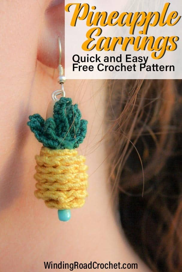 Make these quick and easy pineapple pendant earrings. Free crochet pattern by Winding Road Crochet. Perfect diy jewelry for summer. #summercrochet #crochetjewelry #crochetpineapple