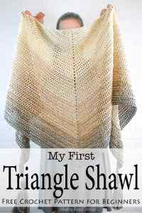 Simple, beautiful and customizable - My First Triangle Shawl is designed to really let the beauty of the yarn shine. This free crochet shawl pattern will walk you through the basics of making and shaping a triangle shawl. This crochet patten is designed for beginners and anyone wanting a simply beautiful shawl. #crochet #freepatttern #crochetpattern #shawl #crochetshawl #forbeginners #crochetforbeginners