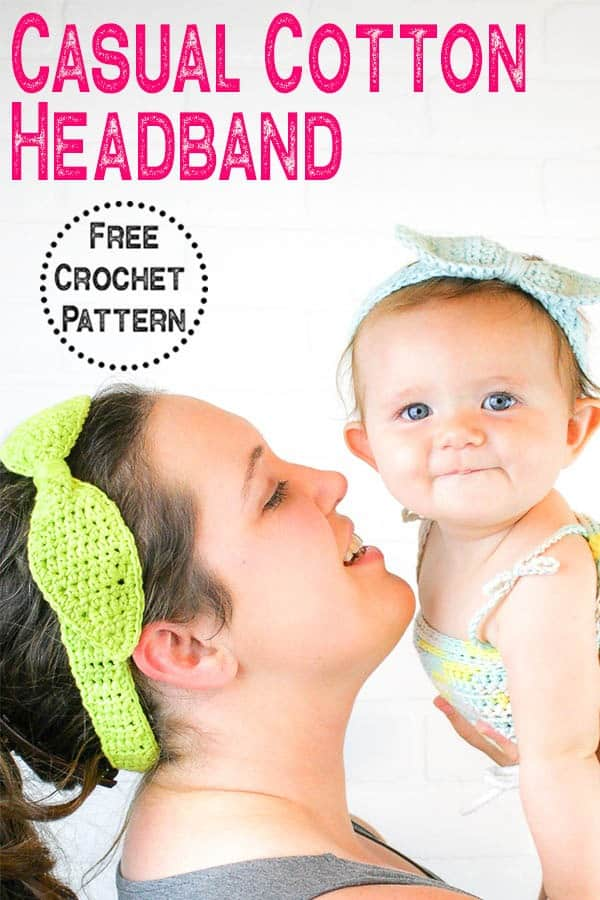 Crochet a quick and easy headband perfect for spring and summer. This headband  uses basic stitches and is great for advanced beginners. Use the free crochet pattern to crochet the Casual Cotton Headband. #crochetheadband #crochetaccessory #springcrochet #summercrochet