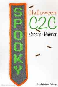 Crochet Banner   Corner to Corner Crochet   Free Crochet Pattern PDF   Halloween Decor   Home Decor  