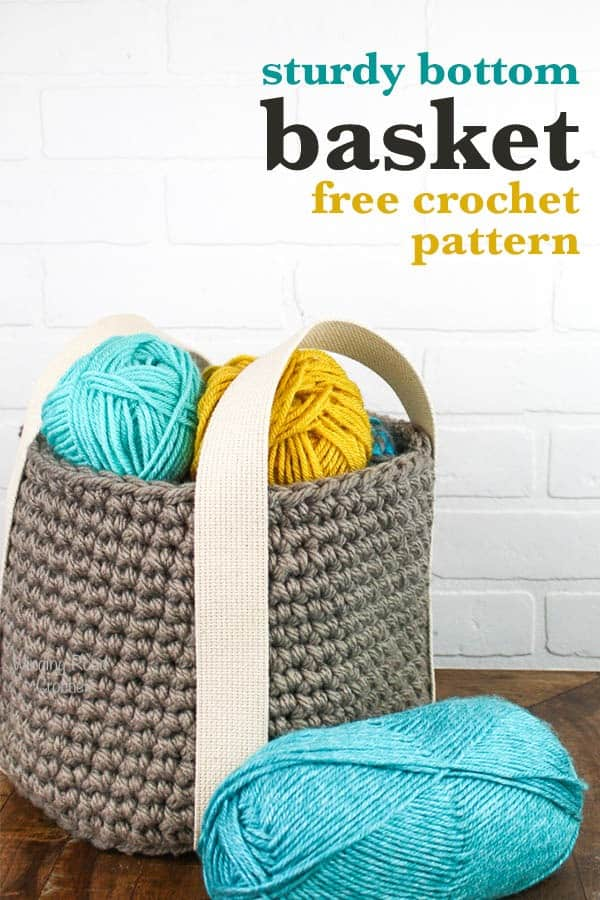 My Sturdy Bottom Basket free crochet pattern is designed to be easy to crochet and has a unique easy to attach handles that solve the saggy bottom problem I see in most crochet baskets. This basket is quick to work up and is a great practical project for beginners. #crochet #crochetbasket #basket #Crochetpattern #freepattern #quick #easy