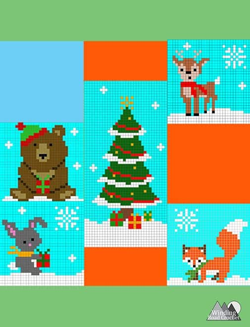The Shy Deer Crochet C2C Square   Crochet a beautiful blanket for the holidays, using the corner to corner crochet method. Free Crochet charts and written pattern available. Woodland Winter Wonderland C2C Corner to Corner Crochet Blanket. Use the charts for any tapestry crochet, make a wallhanging, or just make one square into a holiday tote. #crochet #crochetpattern #crochetgraph