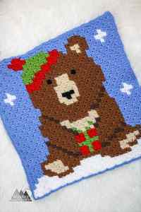 Big Brown Bear C2C Square Graph | This crochet bear C2C graph is great as a pillow or in my Woodland Winter Wonderland Corner to Corner Blanket. This is a great project to work on all fall and have ready for Christmas. Crochet a blanket with little woodland creatures.