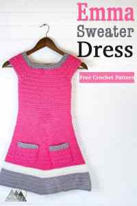 Emma Crochet Sweater Dress   Free Crochet Pattern   A beautiful texture and simple construction makes this a great fall crochet project. Enjoy the free crochet pattern. This link contains the pattern for Girl's size Small and Medium, Sizes XS, Large and XL as well as Baby and toddler sizes coming soon. #crochet #crochetdress