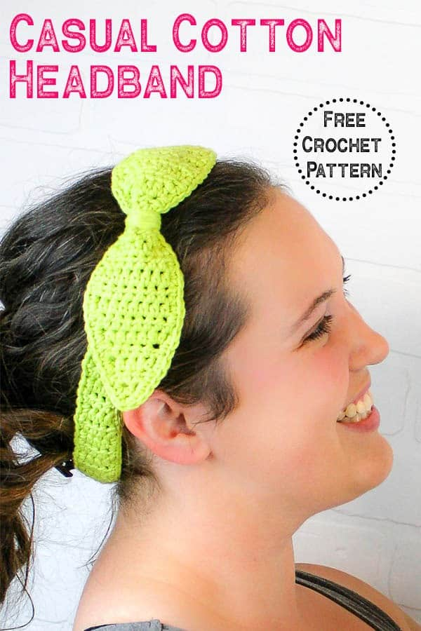 Crochet this quick and easy spring headband using cotton yarn. This free crochet pattern uses only single crochet. Perfect crochet project for women. #crochetheadband #springcrochet #crochetpattern