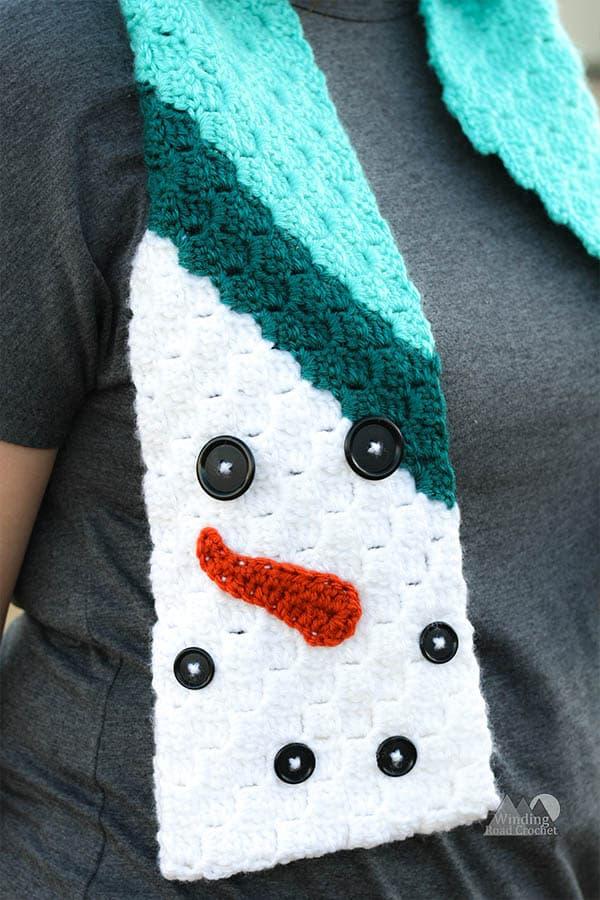 C2c Snowman Scarf Free Crochet Pattern Winding Road Crochet
