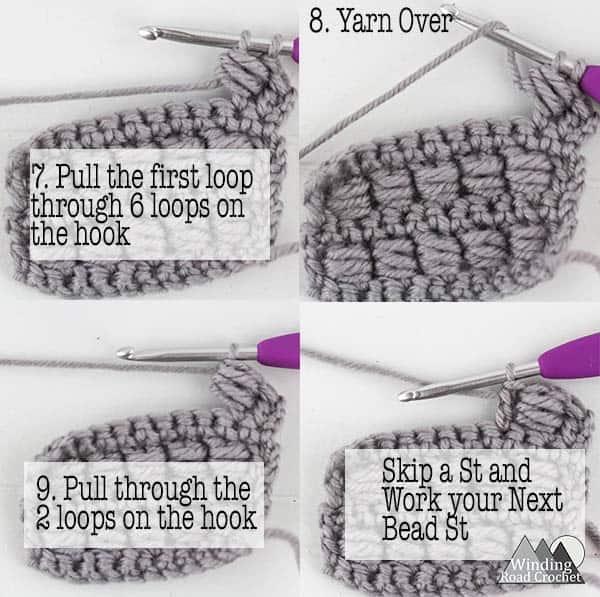 Follow the photo or video tutorial to learn to crochet the beautiful bead stitch. #crochetstitch #crochettutorial