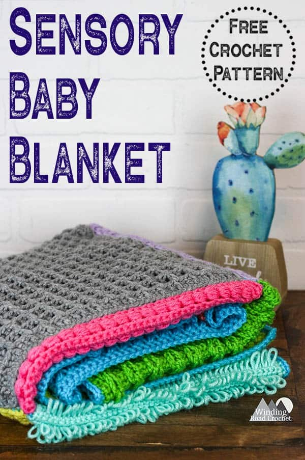 Use this collection of crochet stitch tutorials to make this crochet sensory baby blanket. This blanket makes a great gift and is so fun to create with all the beautiful textured crochet stitch squares. #crochetblanket #crochetbabyblanket