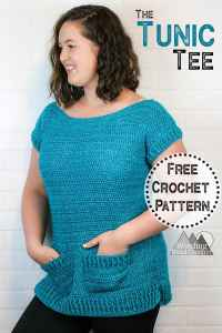 Crochet a beautiful crochet tunic that is easy to crochet and sew together. With pockets and riding detail this is crochet top is perfect for spring. #crochettop #crochettee