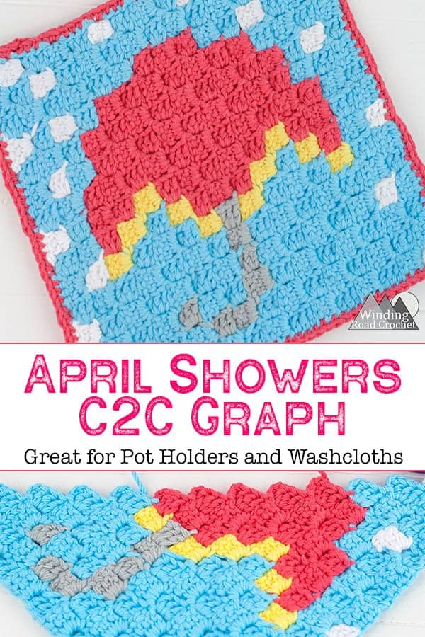 the April Showers c2c graph is a small corner to corner crochet graph that is perfect for making crochet washcloth or pot holder. This small c2c graph is great for c2c beginners. The written chart is included as well as a printable graph. #c2ccrochet #cornertocornercrochet #c2cgraph