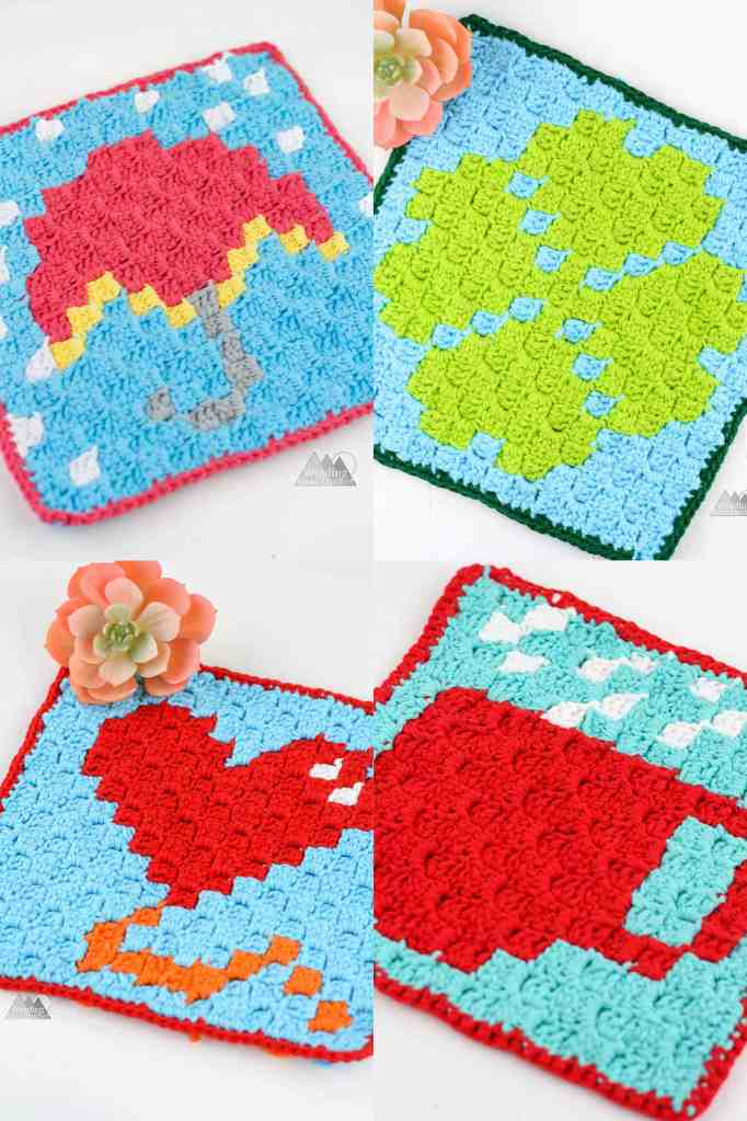 C2C Pot Holders to convert a c2c graph to double crochet