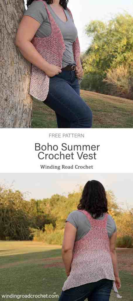 Quick and easy boho crochet vest perfect for summer. Free crochet pattern by Winding Road Crochet. #crochetvest #bohocrochet #crochetforwomen #summervest #bohovest #free #freepattern #pattern #crochetpattern