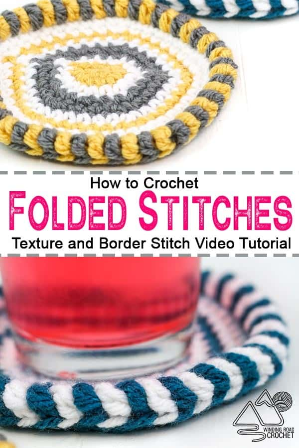 Learn to crochet folded stitches with this video tutorial and photos tutorial. Folded crochet stitches can be used for texture and borders. #crochetstitches #crochetvideotutorial #texturecrochet