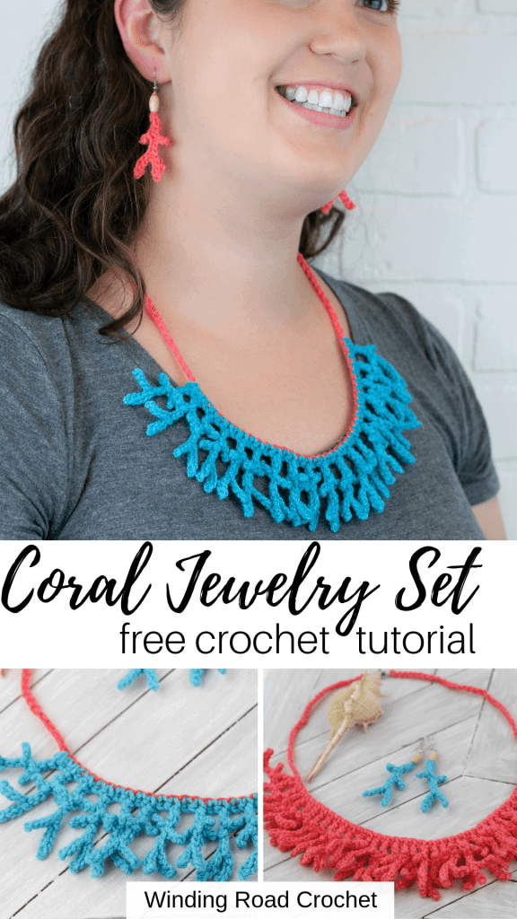 Quick coral crochet jewelry necklace and earrings set. Free crochet pattern by Winding Road Crochet. #crochetearrings#crochetnecklace #crochetpattern #diyjewelry