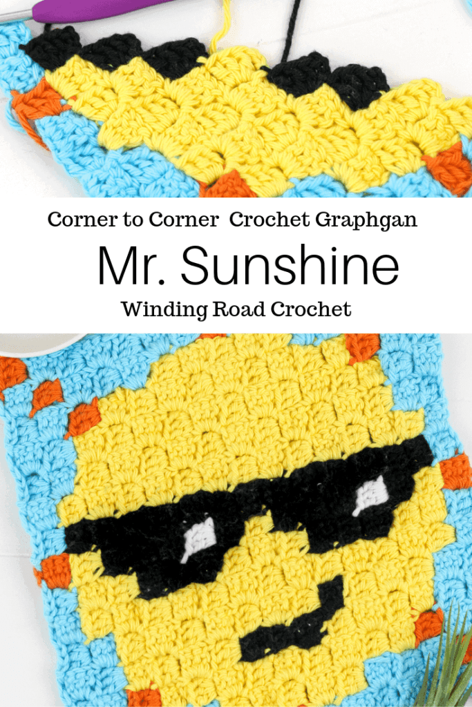 Corner to corner crochet Sun graph and written chart perfect for a washcloth or pot holder. Designed by Winding Road Crochet. #c2c #crochet #cornertocorner #graphgan #crochetgraph