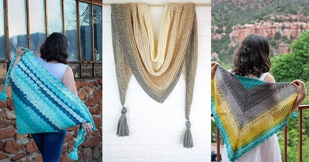 Quick and easy crochet boho shawl. Free Crochet Pattern by Winding Road Crochet. #crochetshawl #bohocrochet #boho #shawl #crochet #crochetpattern