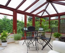Silver shade polycarbonte film on polyconbonate conservatory roof