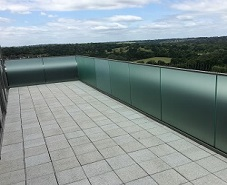 Balcony glass with frosted window film
