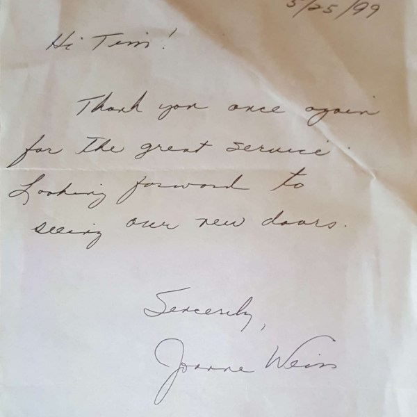 Window Replacements Unlimited Testimonial Picture Thank you letter